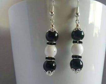 Black earrings, white earrings, casual, dressy, simple, silver plated