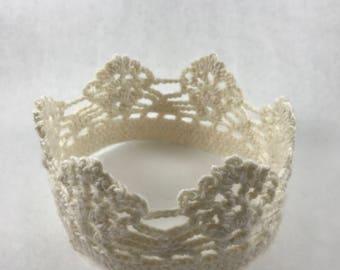 Cream crochet crown