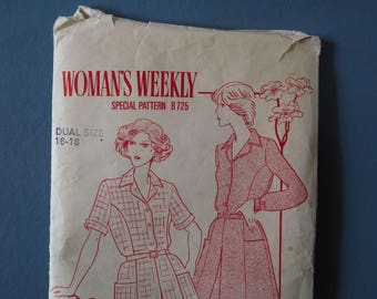 Woman's Weekly vintage retro 1980's shirt dress sewing pattern B725  Size 16 - 18