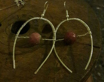 Silver wire thread earrings