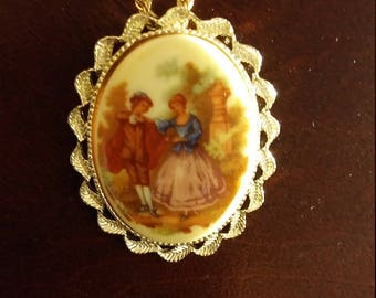VINTAGE - 14 Kt GP necklace with hand painted pendant