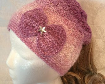 Pink Messy Bun Hat with Detachable Bow