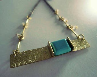 Golden Brass Hand Stamped Strip Necklace with Turquoise Green Magnesite
