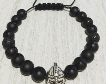 Silver Knight Collection  8mm Black Onyx  Lava Rock Macrame Bracelet