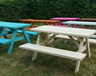 Pub Garden Wooden Timber Picnic Bench