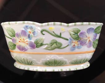 Fitz and Floyd Classics Planter with Purple and Blue Flowers & Leaves