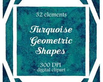 Turquoise blue digital scrapbook collage sheets Dackground digital download Ocean blue digital collage background paper Geometric shapes