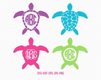 Sea Turtle SVG, Sea Turtle Monogram frames SVG, Sea Turtle Silhouettes,summer beach svg, for CriCut Silhouette cameo Files svg jpg png dxf