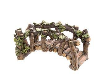"Log Bridge with Ivy, 4.75"" x 2.25"" - Resin - Miniature Fairy Garden Dollhouse"