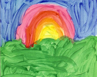 Beautiful Sunset - Over the Rainbow - Print from Original Watercolor Painting by Matthew T. Rogers