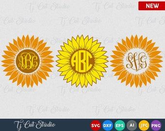 Sun Flower svg, Sun Flower monogram, digital download, svg, dxf, eps,jpg, ai, png, Sunflower Monogram,