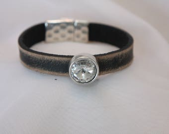 Leather bracelet with large Swarovski crystal slide and magnet clasp