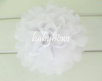 2 White Big Flower Baby Girl Flower Hair Clips 1 Pair
