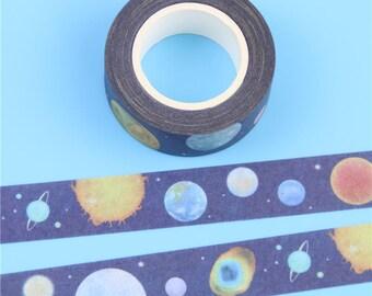 Planet Washi Tape, Space Washi Tape, Planet Washi, Space Themed Stationery, Planet Stationery.