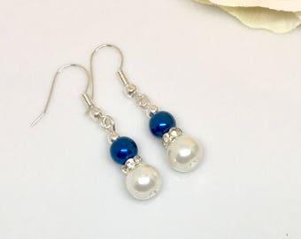 Blue Pearl Earrings, Blue and White Earrings, Elegant Earrings, Bridal Earrings, Bridesmaids Earrings, Dangle Earrings, Gift for Her