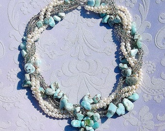 Larimar Pearl and Crystal Necklace