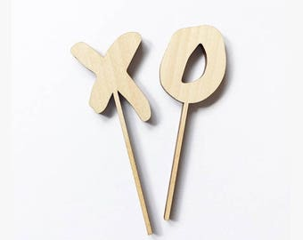 XO laser cut wooden mini cupcake toppers
