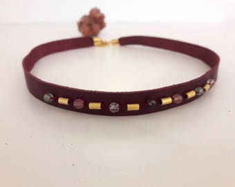Genuine Leather,stone and gold plating