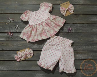 Pink Polka Dot and Floral Tunic Top and Capris Set 6-9 Months