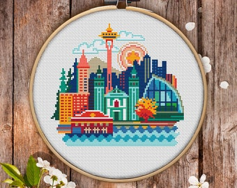 Seattle Cross Stitch Pattern for Instant Download - 076| Easy Cross Stitch| Counted Cross Stitch|Embroidery Design| City Cross Stitch