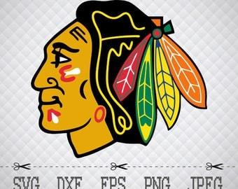 Chicago Blackhawks Logo SVG DXF EPS Png Digital Cut Vector Files Silhouette Studio Cricut Design Space forCameo & Cricut Explore Vinyl Decal