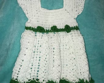 Baby Girl 6-9 Months White/Green Dres