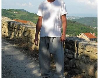 Sarouel homme en lin gris - Braguette boutonnée