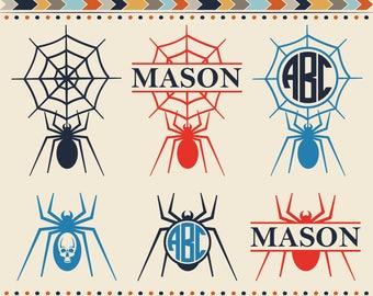 Spider Svg Spider Frames Svg DXF Halloween Spider Svg Spider Net Svg Cricut downloads Silhouette Monogram Spider Svg Dxf Jpg Png Eps Pdf Ai