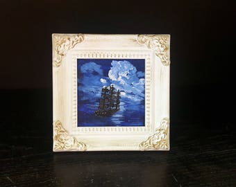 Sailing at night miniature acrylic painting with frame