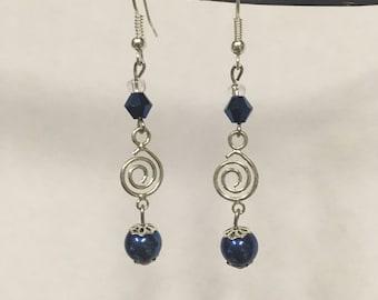 Navy Blue Swirl Earrings
