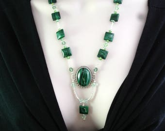 Malachite and Swarovski crystal beaded necklace with sterling silver setting