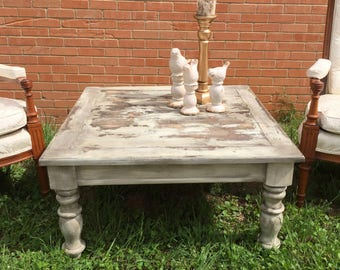 SOLD  - Farmhouse style coffee table, White rustic coffee table, Square Coffee Table