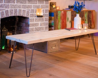 Industrial Style Coffee Table - Scaffold with Hairpin Legs & Vintage Drawer