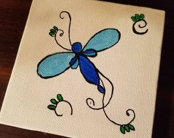 Abstract dragonfly canvas 4x4