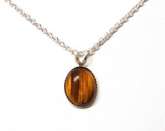 Tiger Eye Pendant, Silver Necklace, Sterling Silver, Silver Pendant, Pendant Necklace, Tiger Eye Necklace, Cabochon Gemstone, Tiger Eye