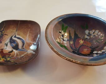Enameled copper dishes