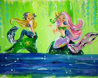 Mermaid Lagoon - Mermaid Art Print - Mermaid Wall Art - Mermaid Painting - Mermaid Art Print - Gift for Her - Mermaid Illustration