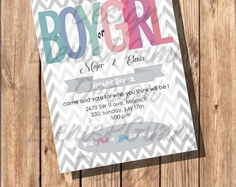 invitacion para gender reveal o baby shower