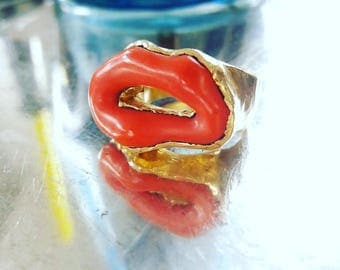 Natural Coral and Gold Ring