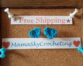 Blue Crochet Heart Stud Earrings handmade gift crochet heart earrings stainless steel earrings heart earrings crochet accessories earrings
