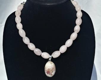 Rose Quartz and Crazy Lace Agate necklace