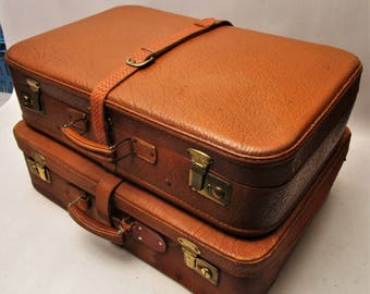 SET VINTAGE SUITCASES 1950 's-Genuine leather & Pigskin