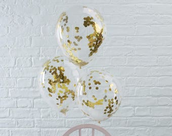 Gold Confetti Balloons, Gold Party Balloons, Gold Wedding Balloons, Gold Celebration Balloons, 5 Pack