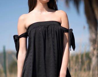 Black short dress low cut shoulder cotton, designed in Barcelona