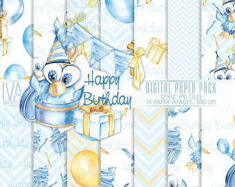 Happy Birthday, Digital paper pack, Watercolor, Scrapbook, Papers, Party, Handpainted Balloons Gift, Background Children's party, Baby party