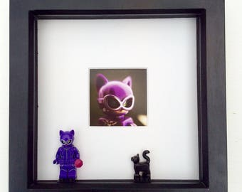 Catwoman Lego minifigure framed picture