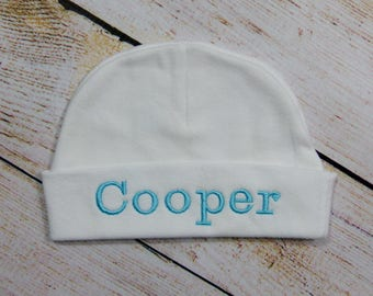 Personalized White or Black Infant Beanie Hat Baby Accessory