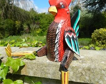 Wooden Chicken Carving - Sitting Shelf Sitter Chicken Ornament - Chicken 40cm