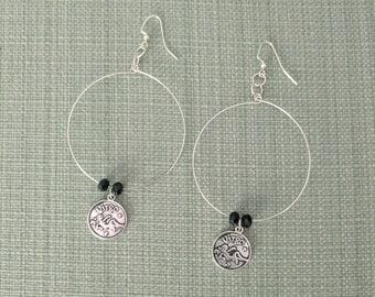 "Zodiac Earrings:  Simple Elegant ""Virgo"" Hoops - Silver"
