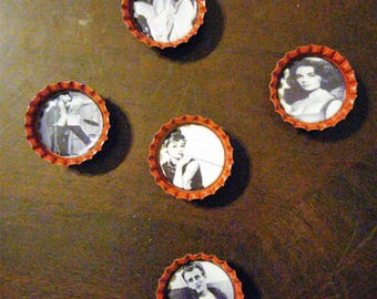 50's Hollywood Icons Black and White Bottle Cap Magnets